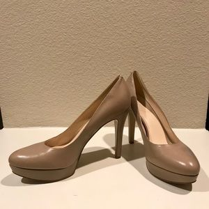 Like-New Nine West Nude Platform Pumps